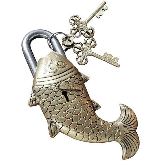 Brass Fish Padlock with Keys