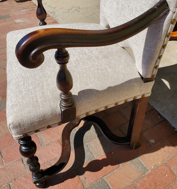 19th Century Baroque Style Walnut Armchair Upholstered in Chenille Fabric