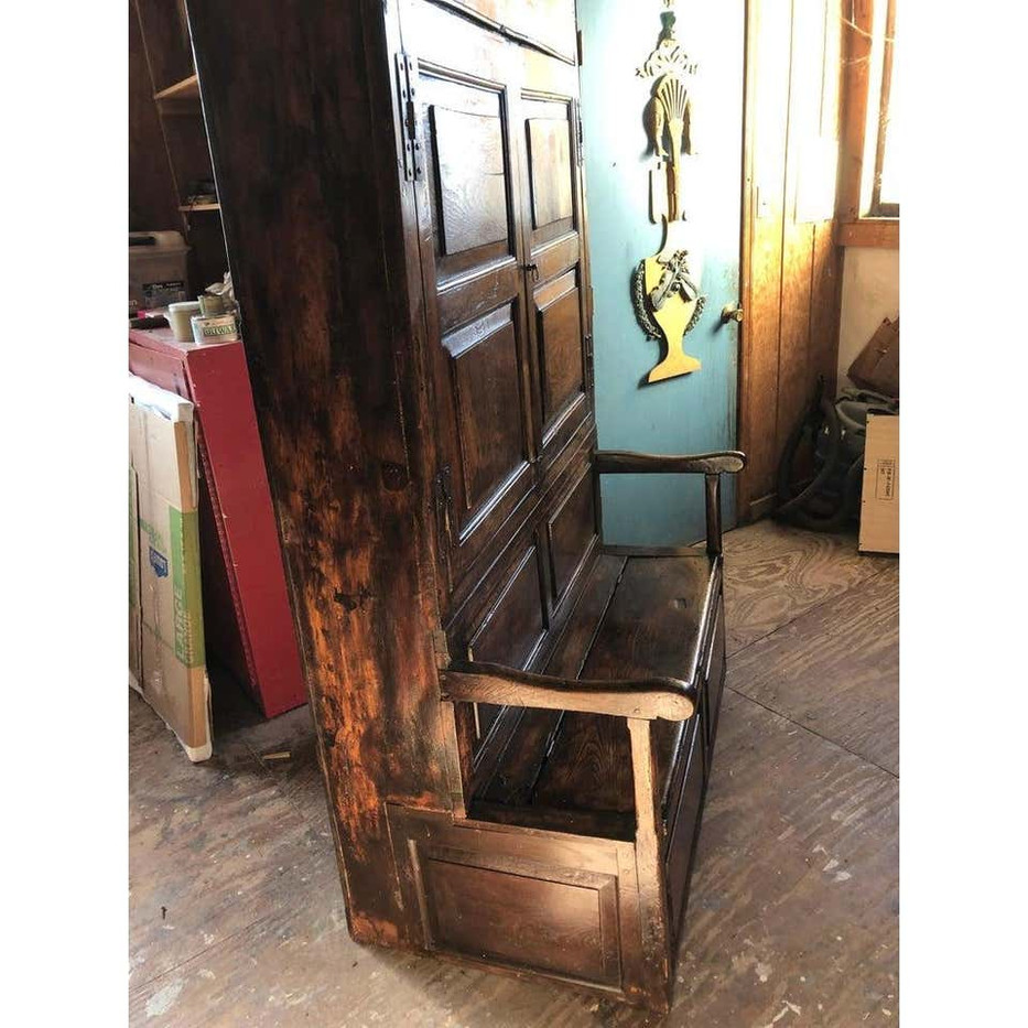 18th Century English Elm and Ash Bacon Settle Cabinet with Attached Bench
