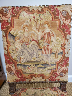 17th Century French Provincial Louis XIII Period Walnut & Needlepoint Side Chair