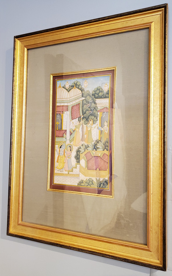 18th Century Indian Hindu Gouache Painting with Gold Frame