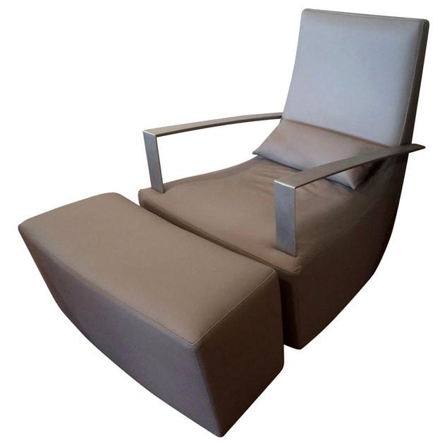 5557 - Leather Armchair-Ottoman