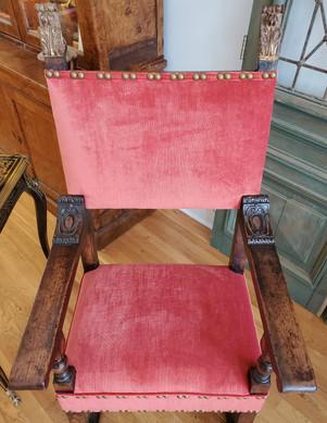 16th Century Italian Renaissance Walnut Armchair Upholstered in Red Chenille