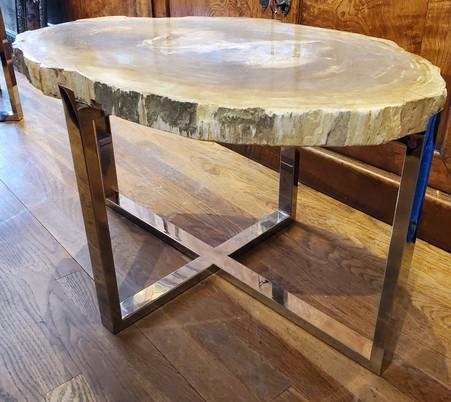 Organic Modern Petrified Wood Table with Chrome BaseOrganic Modern Petrified Wood Table with Chrome Base