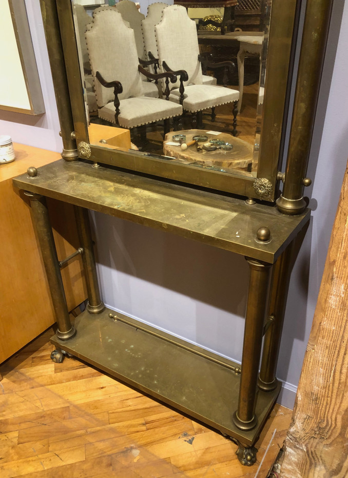 19th Century Neoclassical Brass Console and Mirror