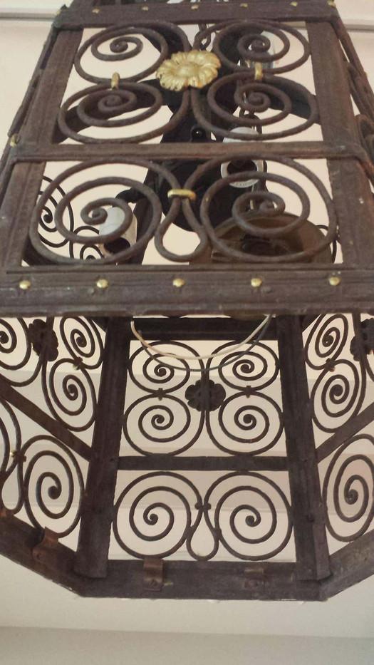 Late 19th Century Hexagon Wrought Iron Lantern Chandelier