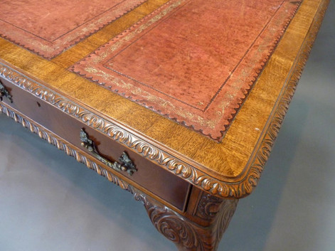 Chippendale Style Mahogany English Writing Table with Tooled Red Leather Top