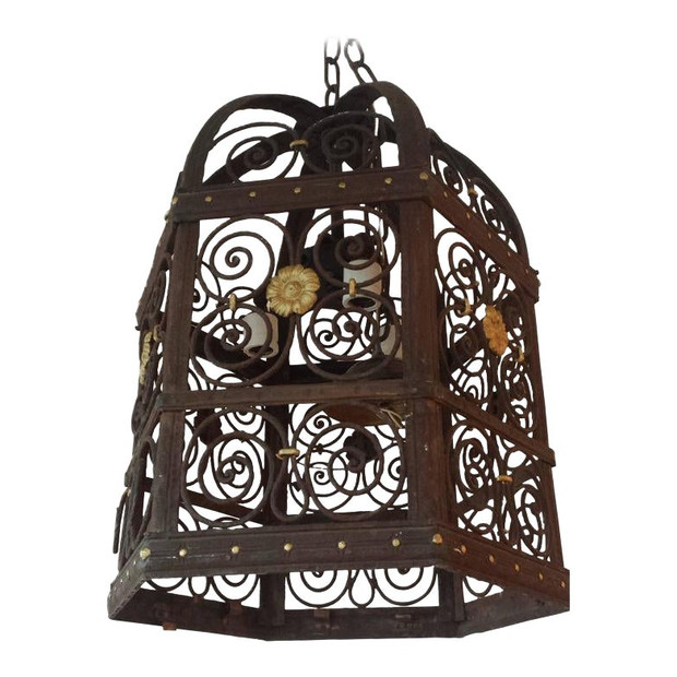 Late 19th Century Hexagon Wrought Iron Lantern Chandelier