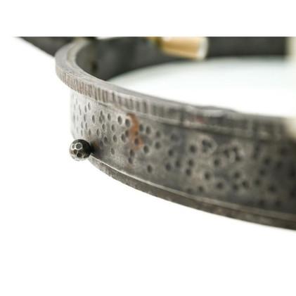 Mid-Century Modern Hand-Hammered Wrought Iron Chandelier