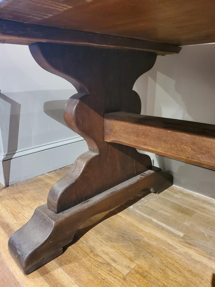 19th Century Louis XIV Style French Provincial Oak Trestle Table