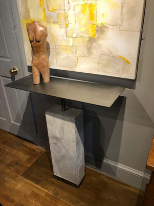 Mid-Century Style Limestone and Steel Gray Console Table