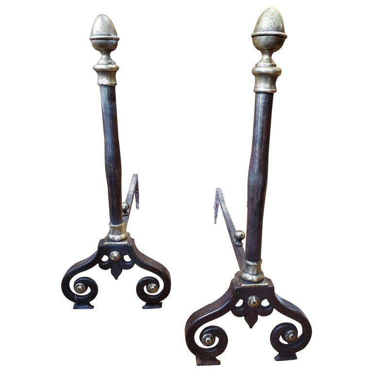 Pair of 19th Century Louis XIV Style French Provincial Andirons