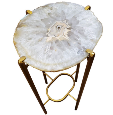 Organic Modern White and Tan Quartzite Geode Drink Table with Gold Gilt Base