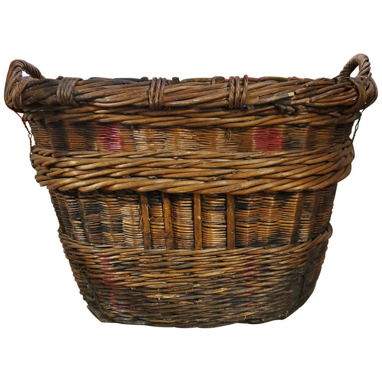 Large French Provincial Grape Harvesting Woven Basket