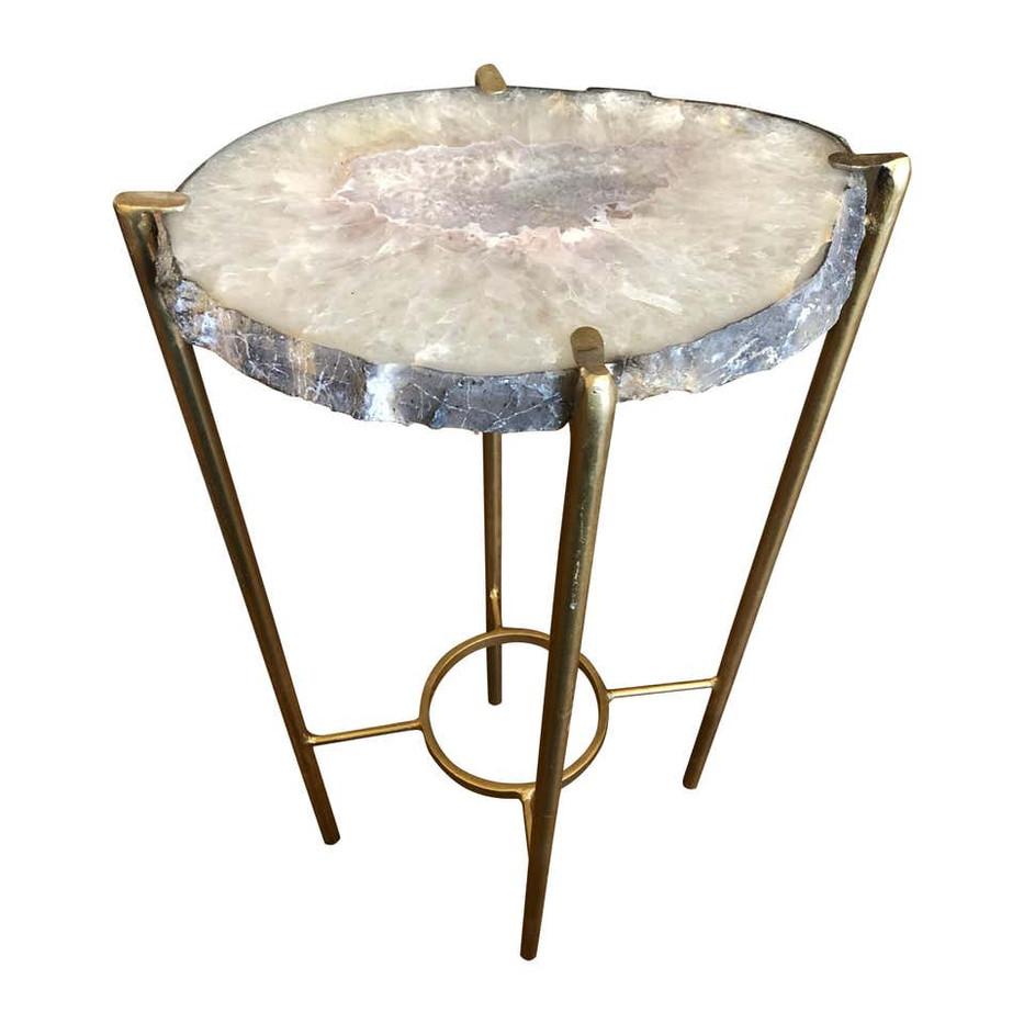 Organic Modern Lavender and White Quartz Tea Table