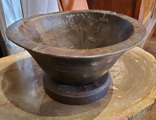 19th Century Turkish Dark Brown Walnut Bowl