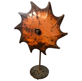 Modern Industrial Agricultural Plow Lamp with Rustic Orange Finish