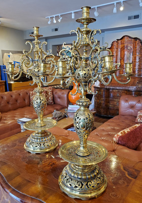 Pair of Large 19th Century Russian Brass Candelabra Candle Holder