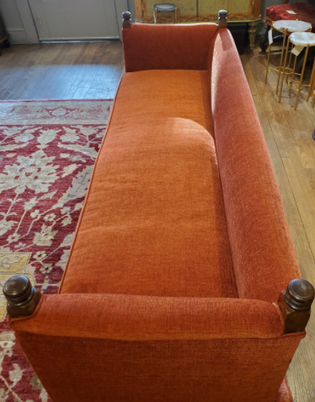 19th Century English Persimmon Upholstered Oak Bench with Three Drawersnch 3.png