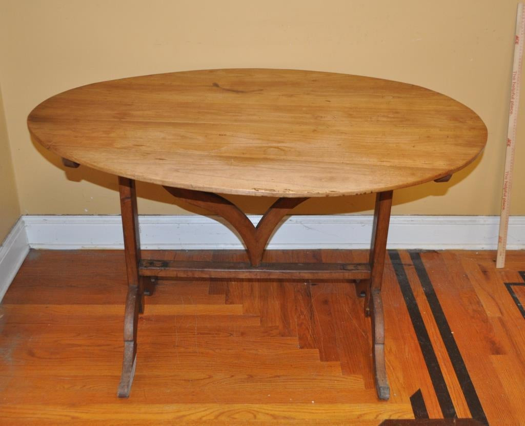 19th Century French Provincial Pearwood Oval Tilt-Top Wine Tasting Table