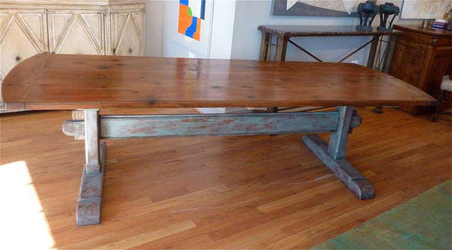 19th Century Scandinavian Dining Table with Trestle Base