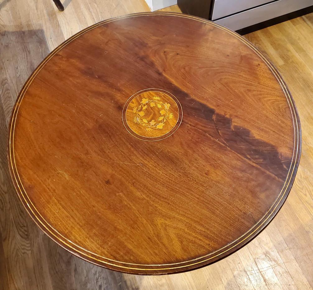 18th Century Irish Mahogany and Boxwood Tilt Top Tripod Tea Table
