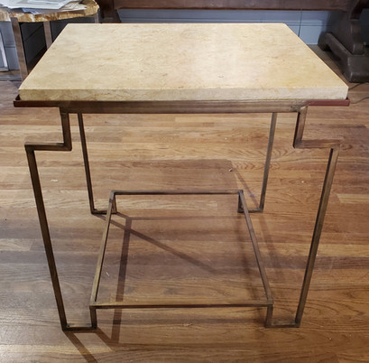 Art Deco Style Side Table with Gilt Metal Base and Marble Top