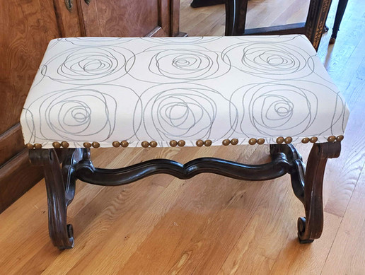 Small French Provincial Louis XIV Period Upholstered Circassian Walnut Bench
