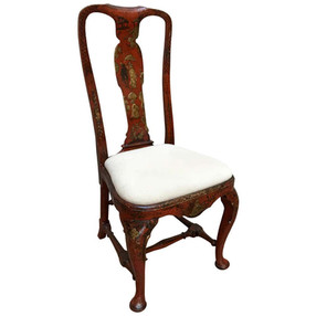 18th Century Queen Anne Period Red Lacquered Side Chair with Gold Gilt Details