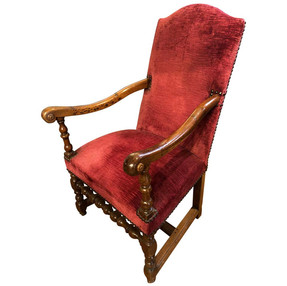 17th Century Baroque French Provincial Raspberry Red Upholstered Armchair