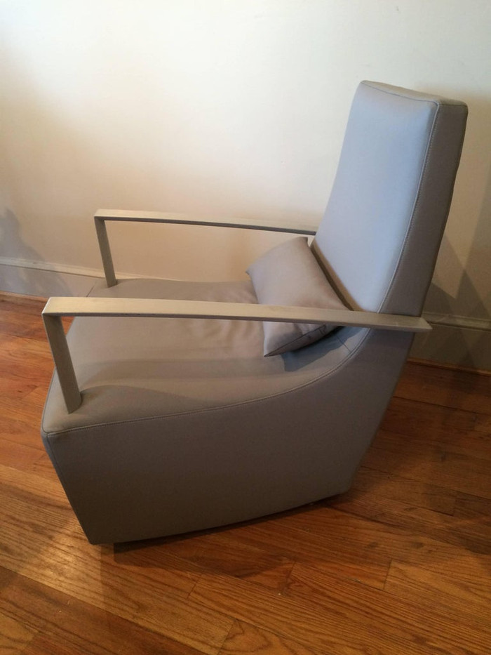 Mid-Century Modern Gray Leather Brushed Steel Armchair and Ottoman