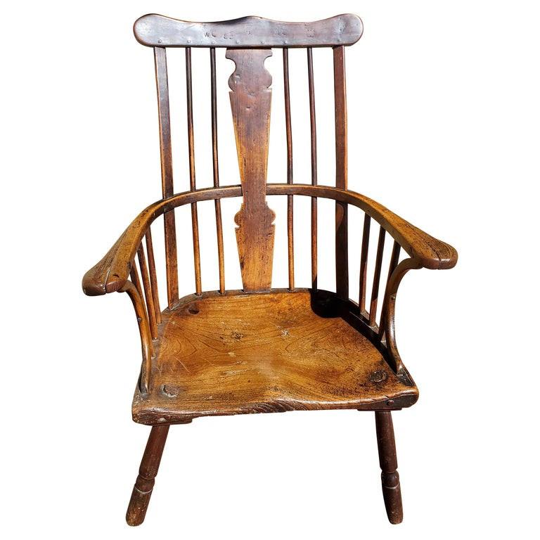 "18th Century English ""Comb-Back"" Ash, Elm and Walnut Windsor Armchair"