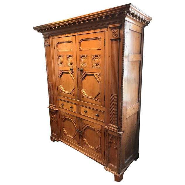 19th Century Neoclassical Revival Irish Pine Cabinet