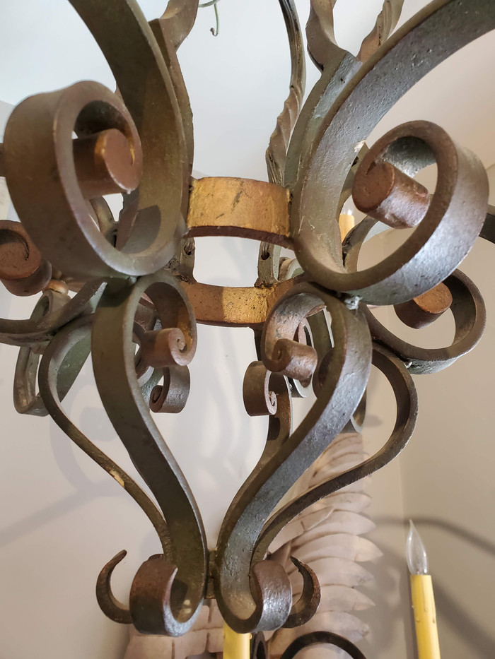 Small 19th Century French Provincial Patinated Wrought Iron Chandelier