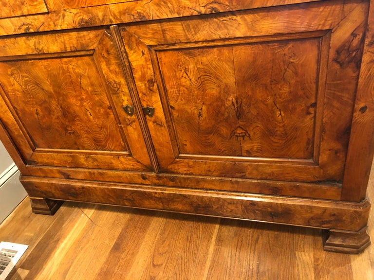19th Century French Provincial Burled Ash Buffet Deux Corps