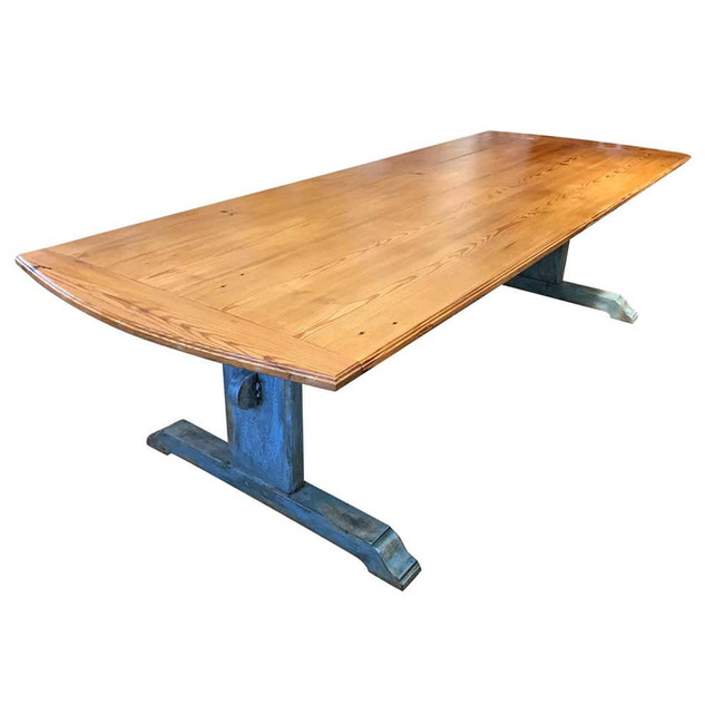 Large 19th Century Scandinavian Pine Dining Table with Blue Painted Trestle