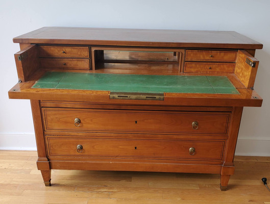 19th Century French Provincial Pearwood Commode with Secretaire Drawer