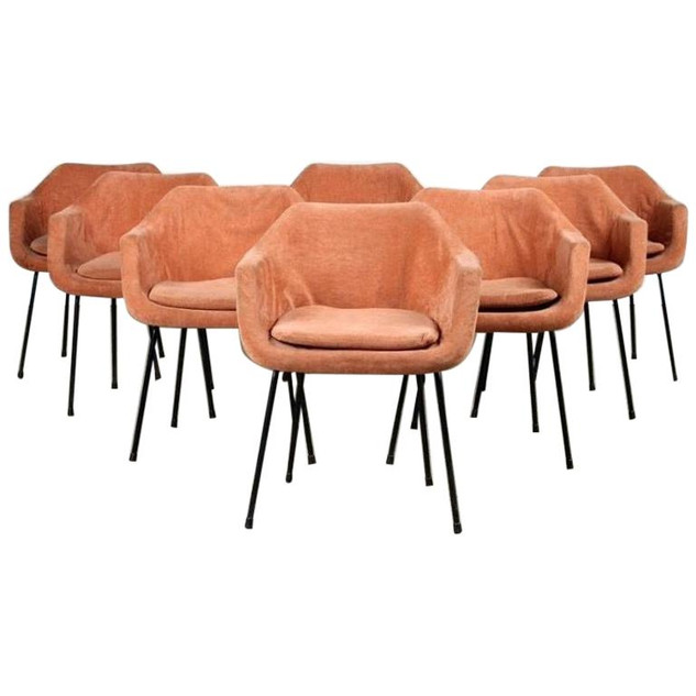 Set of Eight Midcentury Orange Upholstered Eames Chairs with Black Iron Bases