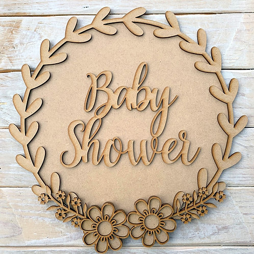 Laurel 2 Layered Hoop Kit Backboard with Baby Shower