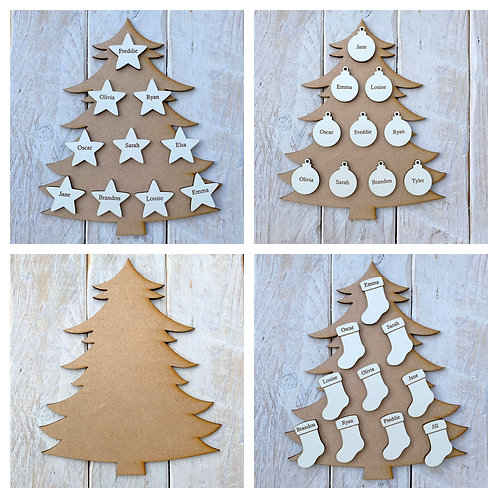 MDF Christmas Tree F with White Engraved Name Tags