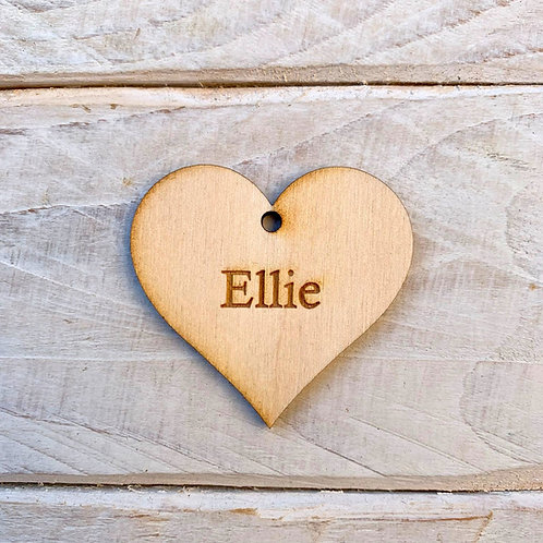 5cm Engraved Plywood Heart with Hole