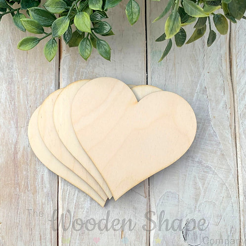 4 Pack Birch Plywood Hearts
