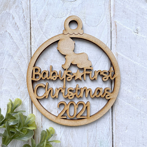MDF Bauble Baby's First Christmas 2021