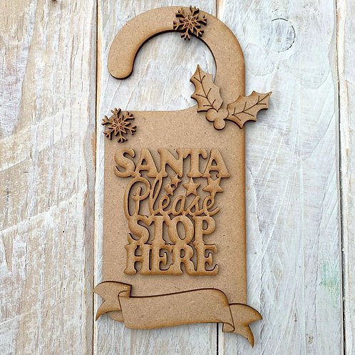 Door Hanger Layered Santa Please Stop Here Hook