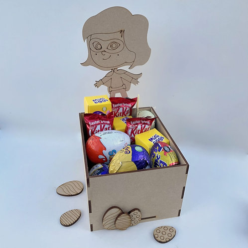 MDF Easter Fillable Treat Box Super Girl