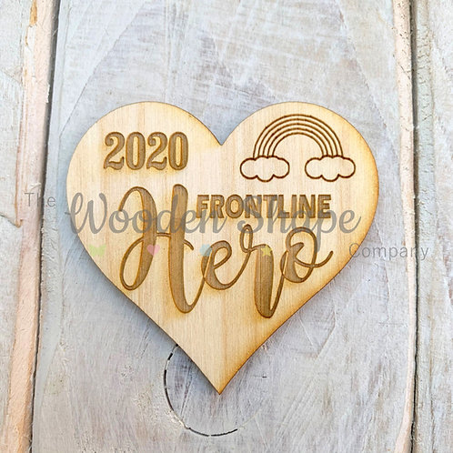 Plywood Engraved Heart Frontline Hero Token or Keyring 5 Pack