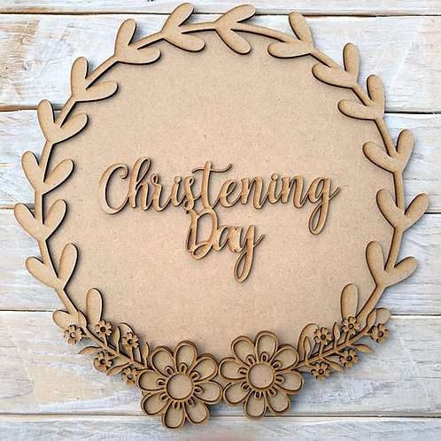 Laurel 2 Layered Hoop Kit Backboard with Christening Day