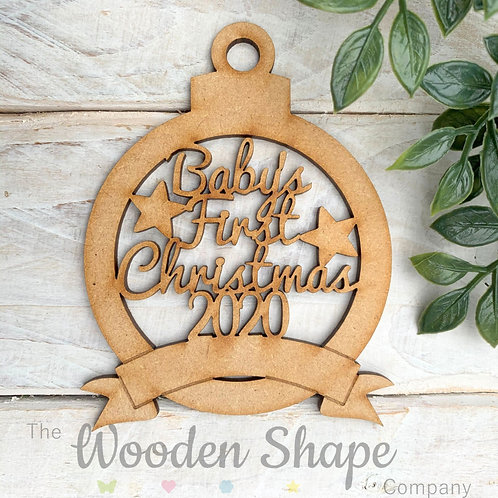 MDF Bauble Baby's First Christmas 2020 with Banner