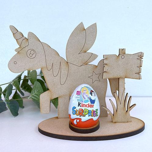MDF Easter Egg Holder Stand Creme/Kinder Egg Unicorn
