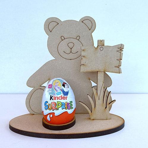MDF Easter Egg Holder Stand Creme/Kinder Egg Teddy